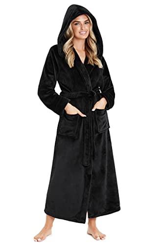 CityComfort Bata De Casa, Albornoz Mujer De Forro Polar, Regalos Para Mujer, Ropa Mujer S - XL (Negro, XL)