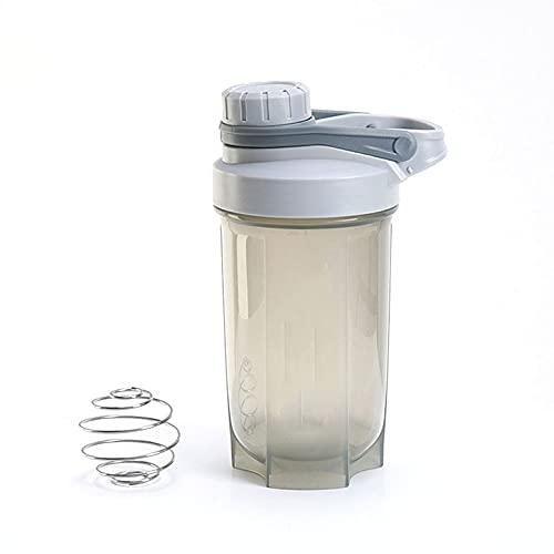 Batido de proteína en polvo Agitador Botella de agua Hervidor deportivo Botellas de batido de cocina Botella portátil de 500 ml para ejercicios al aire libre - Gris