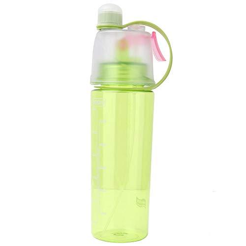 Botella De Agua, 600 Ml Botella De Agua PortáTil De Gran Capacidad En Aerosol Botella Deportiva Botella Verde Transparente A Prueba De Fugas para Ciclismo Al Aire Libre