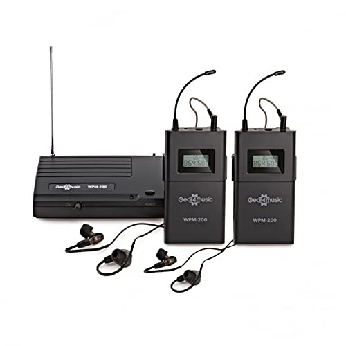 Wireless In Ear Monitor System with 2 Receivers UHF 40m Rang