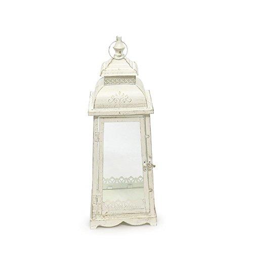 Grafelstein Laterne Lugano Creme weiß antik aus Metall Ornament verziert - MITTEL