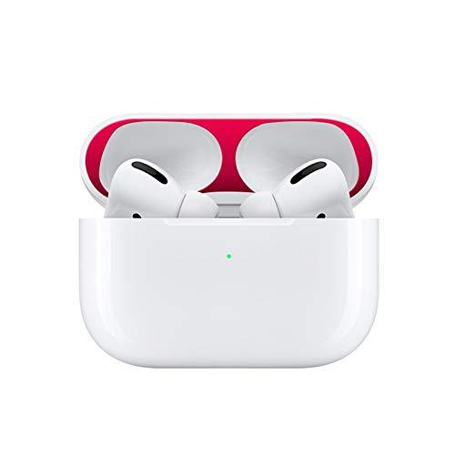 LICHIFIT Interne Metalen Stofbescherming Beschermende Film Sticker voor Apple AirPods Pro Bluetooth Oortelefoon Case Shell Huid, Rood