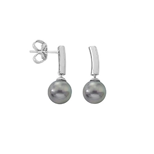 Majorica 09135.03.2.000.703.1 Pendiente de Mujer Plata Perla gris 8 mm Presión