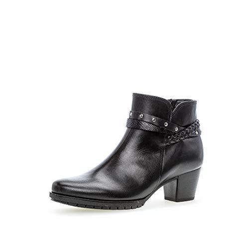 Gabor Damen Stiefeletten, Frauen Ankle Boots,Comfort-Mehrweite,Reißverschluss, Women's Woman Freizeit leger Stiefel,schwarz (Micro),40.5 EU / 7 UK