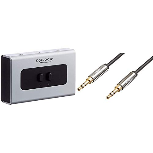 DeLOCK 2-Port Switch Stereo Jack 3.5mm & Amazon Basics Aux-Kabel, Stereo-Audiokabel, 3,5mm-Klinkenstecker auf 3,5mm-Klinkenstecker, 1,2m