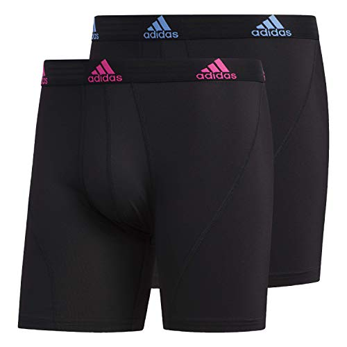 adidas Men's Sport Performance Boxer Briefs Underwear (2 Pack), Black/Shock Pink Black/Real Blue, X-LARGE