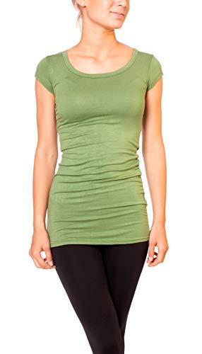 Easy Young Fashion Damen Basic Kurzarm T-Shirt Lang Longshirt Unterziehshirt mit Rundhals Ausschnitt Lindgrün M 38