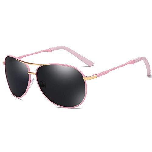 Gafas de sol Hombre Gafas de sol polarizadas Gafas de sol Hombre Mujer Gafas Conductor Conducción Sapo Espejo-Marco rosa pieza gris