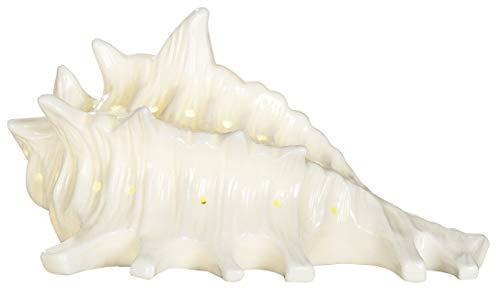dekojohnson LED Muschel Lampe-Outdoor Muschel-Lampe LED-Meeresschnecke Stimmungslampe Motivlampe weiß Badezimmer-Deko 11cm Batteriebetrieben