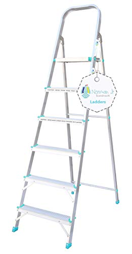 NORMAN JR Ember- Ultra-Stable 6-Step Foldable Aluminium Ladder 192 cm (6.25 ft.), Top Platform Size 10 inch X 10 inch and Step Size 14, 15, 16, 17, 18 Inches - Silver