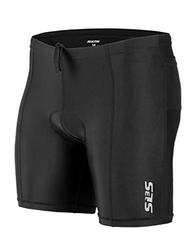 SLS3 Triathlon Shorts Men - Tri Short Mens - Men's Triathlon Shorts - Tri Shorts Black - 2 Pockets FRT 2.0 - Designed by Athletes for Athletes (Black, Medium)