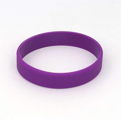 YANODA 2 Stück Rot Schwarz Blank Fitness Armband Männer Frauen Kinder Gummi-Silikon-Armband for Mann Geschenk-Schmucksachen Eingestellt Adjustable (Color : Circumference 18cm, Size : Purple)