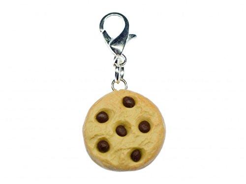 Miniblings Chocolate Chips Keks Charm Chocolate Cookie Plätzchen Handmade - Handmade Modeschmuck I Kettenanhänger versilbert - Bettelanhänger Bettelarmband - Anhänger für Armband