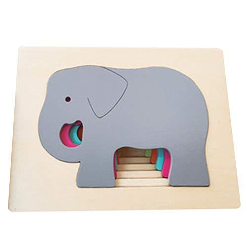 Toyandona Puzzle aus Holz, stapelbar, für alle Tiere, Elefant, Puzzle, Montessori, Spielzeug, Kopfknacker, Stapel, Kinder, Lernspielzeug