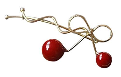 Plus Nao(プラスナオ) ヘアピン レディース ヘアアクセサリー ヘアクリップ おしゃれ ヘアアレンジ かわいい リボン さくらんぼ プレゼント - ゴールド