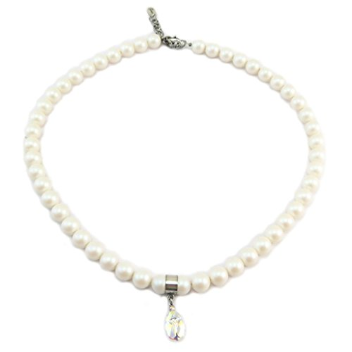 Lily-Crystal [P6661] - Handgefertigte halskette 'Tsarine' weiß puderig weiß boreal (skarabäus)- 8 mm, 14x8 mm.
