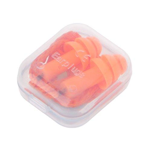 SHURROW Tapones para los oídos con Cable de Silicona Suave Tapones de reducción de Ruido Orejeras Protección auditiva Tapón para los oídos Naranja