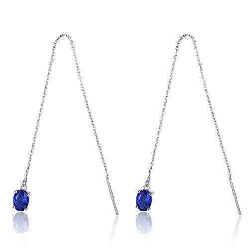 Beydodo Pendientes Aros Plata 925 Mujer,Pendientes de Mujer Azul Oval con Línea de Oreja Circonita Azul
