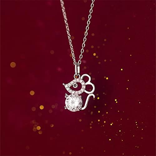 QiuYueShangMao Collar Colgante Rata Año Signo del zodíaco Deslumbrante ratón Plateado Cadena de clavícula Collar Femenino Accesorios Mujeres