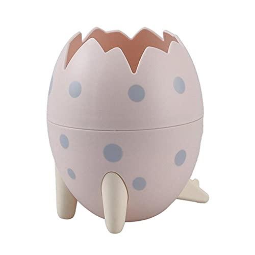 Dibujos animados dinosaurio forma de huevo portalápices caja de almacenamiento de escritorio maquillaje cepillo organizador decoración del hogar cubo de almacenamiento adornos lindos-rosa