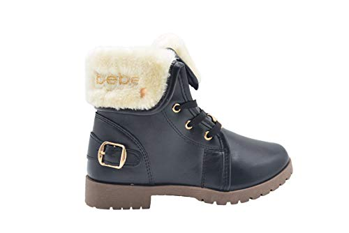 bebe Girls Big Kid Pull-On Lace-Up Short Ankle Boots with Faux Fur Fold Over CuffSize 12 M US Little Kid Black/Gold