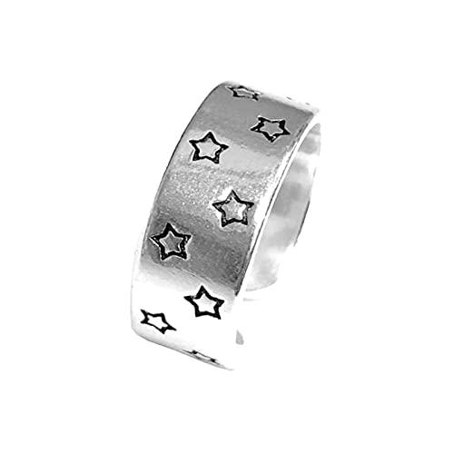 Anillos de dedo de estrella grande de Color plateado para mujer, regalo para mujer, anillos antiguos de tamaño ajustable, Anillos, anillo abierto para niñas
