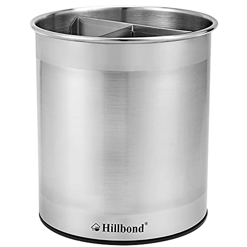 Hillbond Stainless Steel Utensil Holder with Removable Divider for Easy Clean, 360° Rotating Kitchen Utensil Crocks with Weighted Base for No Tipping Over, Utensil Caddy Organizer, Extra Large
