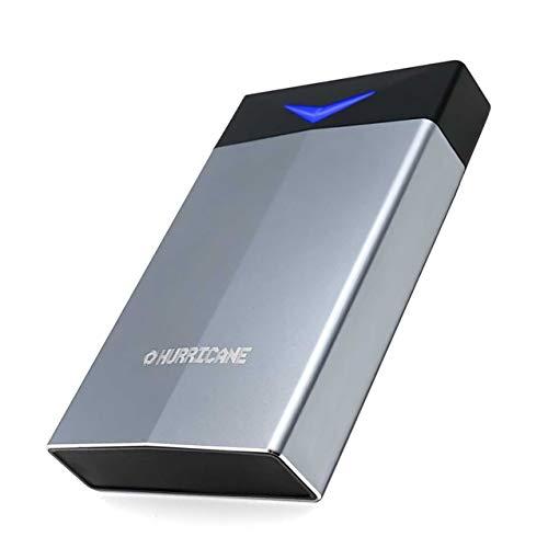 Hurricane 2TB Externe Festplatte 3.5 Zoll GD35625 USB-C, RGB LED Aluminium 2000GB externer Speicher SATA Gaming 2 TB HDD mit Netzteil für PC TV Mac Ps4 Ps5 Xbox kompatibel mit Windows macOS Linux