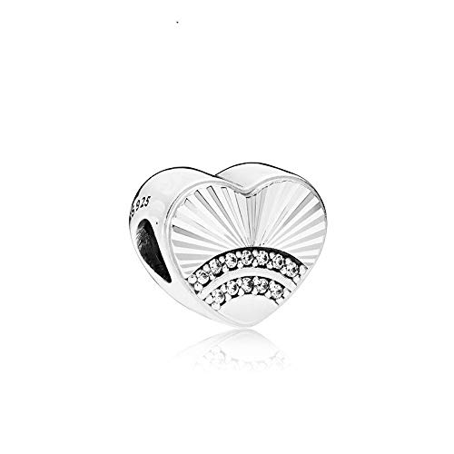LILANG Pandora 925 Jewelry Bracelet Natural Sterling Silver Fan of Love Charm Clear Cz Heart Beads para encantos Bijoux Mujeres DIY Gift