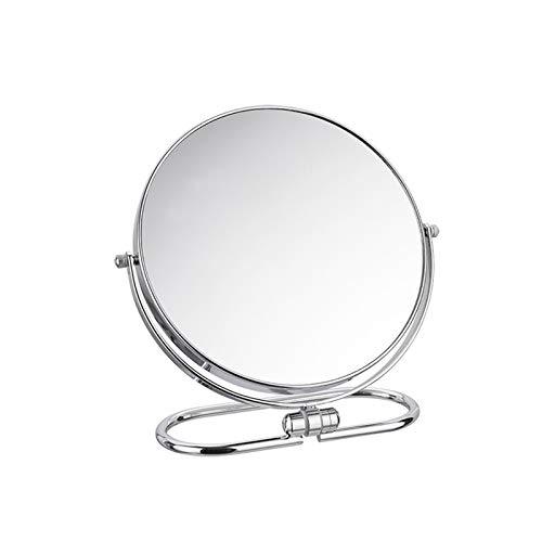 JINBAO Espejo de Maquillaje de Escritorio Plegable 360 Grados Giratorio de Moda Portátil de Metal Espejo de Doble Cara Espejo de Vanidad Plata Brillante