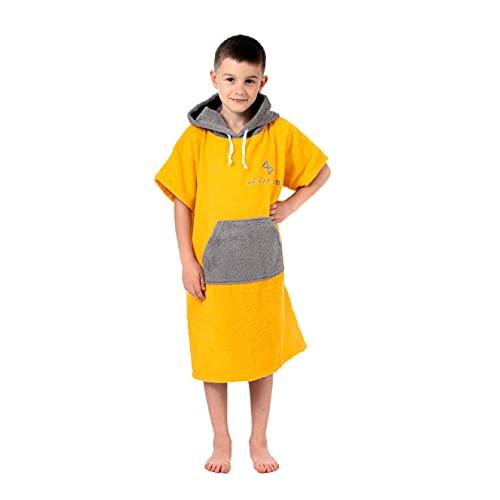 Poncho Surf Para Niño - Toalla 100% Algodon - Amarillo - Poncho Niño y Niña con Capucha - Ideal como Toalla Surf, Toalla Piscina, Toallas de Playa Toalla Deporte - Poncho Toalla Niño 6-13 años