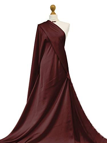 Calidad premium | Tela de satén sedosa | Satén ligero de lujo | Material de confección de vestido de novia ultra suave | Fabriques (vino tinto, muestra de 20 x 20 cm)