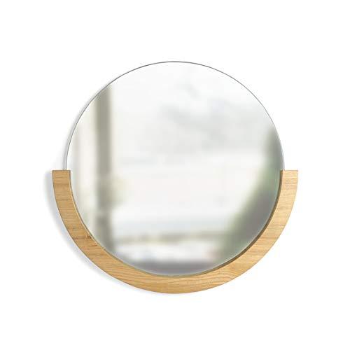 Umbra 358778-390Mira Espejo de Pared Redondo con 183.20Marco de Madera, Fresno, Natural