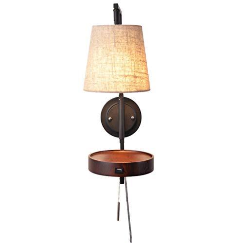 Xiao Fan * Nordic creatieve massief houten wandlamp Moderne minimalistische woonkamer slaapkamer wandlamp met snoerschakelaar USB-oplaadpoort design wandlamp (kleur: notenboom kleur)