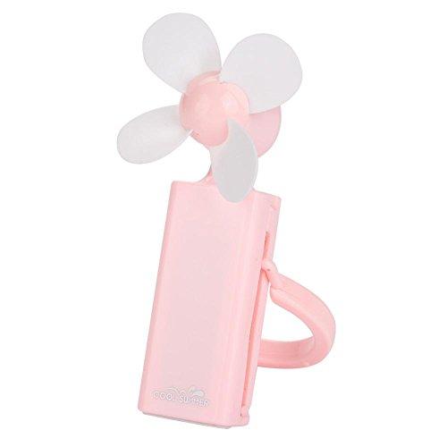 Eboxer draagbare handelektrische minifan USB-oplaadbare ventilator voor huis, kantoor, slapen, zomer, enz, roze