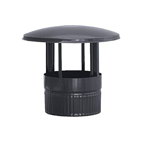 S&M 485268 Sombrerete en color negro vitrificado 900°C-Ø150 mm-Rosetón para conductos de estufas y chimeneas