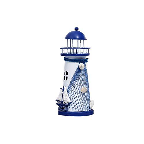 Faderr Decoración de estructura de hierro con velas adornos de faro, decoración de estilo mediterráneo con temática de mar, decoración de pared para gabinete de TV, escritorio y hogar