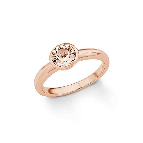 s.Oliver Damen-Ring 925 Swarovski Kristall, Silber teilvergoldet, orange Gr. 54 (17.2), 2018667