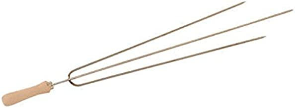 Food From Cyprus Set of 3 Stainless Steel Greek Cypriot Barbecue BBQ Grill Foukou Souvlaki Kebab 3-Prong Skewers with Wooden Handles