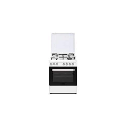 Cuisiniere gaz Rosieres RGG663CSW/E - Cuisinière 60 cm Blanc - Table de cuisson Gaz - Four Electrique 63 litres - Nettoyage Catalyse - Classe énergétique A