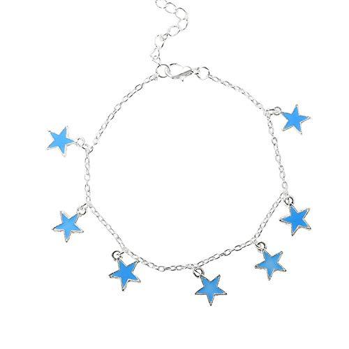WEIYYY Playa Viento Azul Estrella pentagonal Borla Cadena de Tobillo Pulsera de Estrella Luminosa Pulsera de Tobillo Ornamento, China