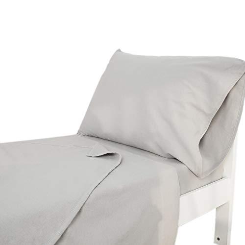 TILLYOU 3-Piece Flannel Cotton Toddler Sheet Set for Boys Girls (Fitted Mattress Sheet, Flat Sheet, Envelope Pillowcase), Plush and Warm Baby Bedding Sheet & Pillowcase Set, Gray