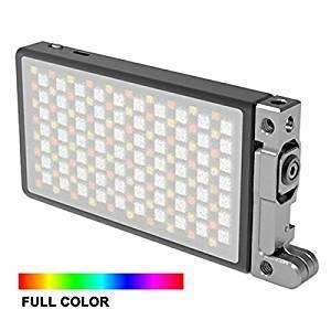 BOLING BL-P1 RGB Luz LED para cámara/videocámara a Todo Color, luz de Video Recargable de Bolsillo con Rango de Color de 2500k-8500k, 9 simulaciones de escenarios comunes con Carcasa