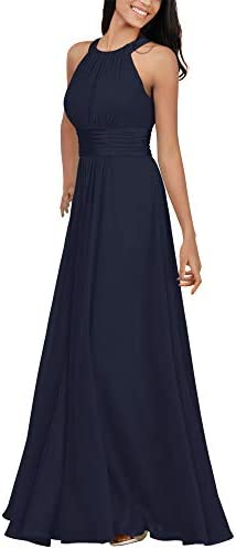 Alicepub Chiffon Dark Navy Bridesmaid Dresses Long Formal Party Dress for Women Special Occasion product image