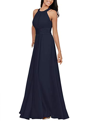 Alicepub Chiffon Dark Navy Bridesmaid Dresses Long Formal Party Dress for Women Special Occasion Halter, US12