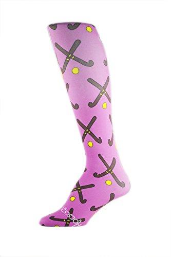 HOCSOCX Womens/Girls Shin Guard Rash UNDER Sport Socks (Medium (Shoe Size 5-11), Purple Field Hockey Sticks)