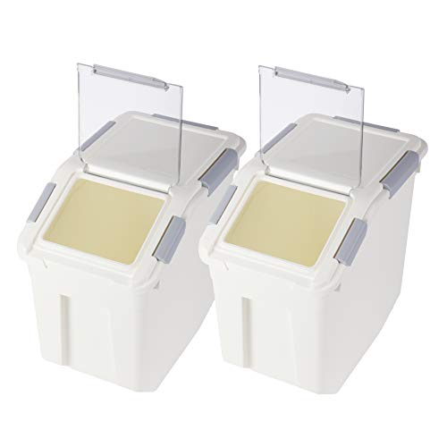 Rice Storage Container with Wheels Seal Locking Lid PP((507.27oz / 3.96gal / 80cup / 15L),Pack-2)
