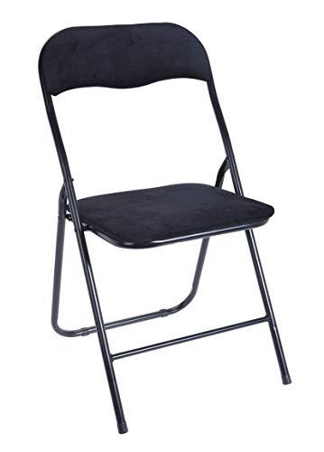 Spetebo klapstoel metaal met fluwelen bekleding - 3 kleuren - logeerstoel en rugleuning - gevoerde bijzetstoel zwart