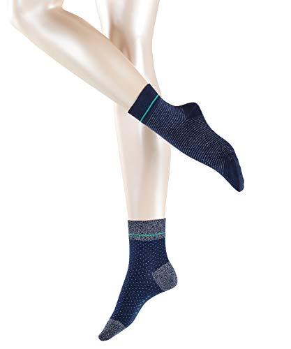 ESPRIT Damen Kurze Socken Nice Stripe und Dot 2-Pack, Baumwolle, 2er Pack, Blau (Marine 6120), 39-42 (UK 5.5-8 Ι US 8-10.5)
