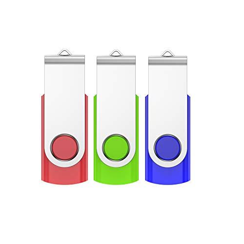 VIEKUU CLé USB 64 Go,Lot de 3 2.0 64 GB Métal Cle USB Pen Drive Flash Drive Postuler à Rotation Stylo Lecteur pour Ordinateur Pc Voiture Etc (Rouge Bleu Vert)